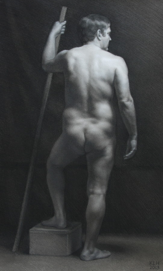 Male Figure Study by Katy Hamilton; charcoal & white on paper