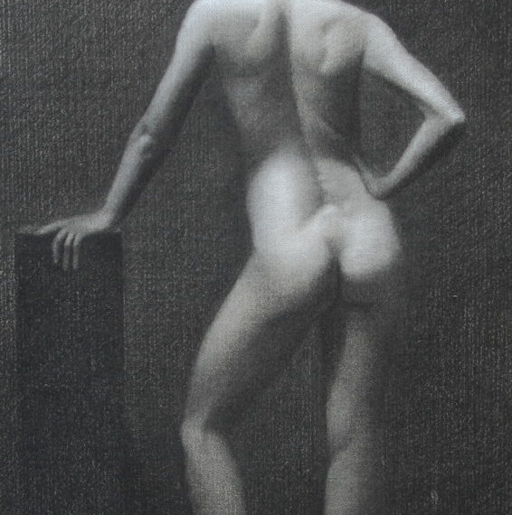 Figure Study by Jason Pitts; charcoal & white on paper